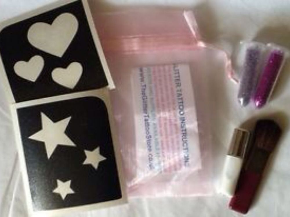 GIRLS HEARTS/STARS GLITTER TATTOO KIT-GLUE/STENCILS/PINK SILVER GLITTER/BRUSH